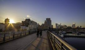 Puente largo lateral de Yokohama fotos de archivo libres de regalías