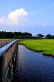 Puente largo sobre hierba y agua fotografía de archivo libre de regalías