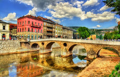 Puente latino en Sarajevo Imágenes de archivo libres de regalías