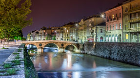 Puente latino, Sarajevo Imágenes de archivo libres de regalías