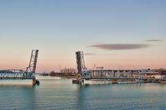 Puente levadizo de la bahía del esturión foto de archivo libre de regalías