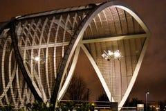 Puente monumental de Arganzuela, noche del centro de ciudad de Madrid, España Foto de archivo