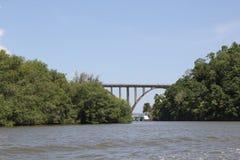 Puente muy arriba arqueado sobre un río ancho imagen de archivo libre de regalías