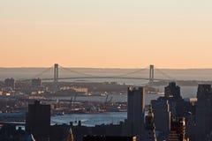 Puente New York City de los estrechos de Verrazano Fotos de archivo