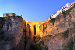 Puente Nuevo Bridge over the Tajo Gorge at dusk in Ronda, Spain Royalty Free Stock Photography