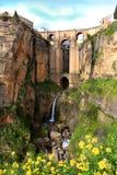 Puente Nuevo bro, i Ronda, Spanien Royaltyfri Fotografi
