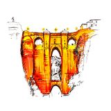 Puente Nuevo, New Bridge, in Ronda, Spain. Puente Nuevo or New Bridge over the Tajo Gorge in Ronda, Andalusia, Spain. Picture made liner and markers Royalty Free Stock Photo
