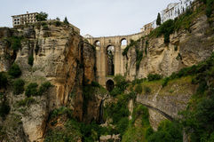 Puente Nuevo & Río Guadalevín waterfall in Ronda, Spain Royalty Free Stock Images