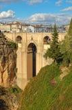 Puente Nuevo - Ronda. The New Bridge (Puente Nuevo) high above the El Tajo Gorge - Ronda, Andalusia, Spain stock photography