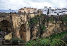 Puente nuevo in Ronda. Puente Nuevo or New Bridge is located in Ronda, Spain spanning the whole canyon royalty free stock image
