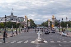 Puente París Francia de Alejandro III Imagen de archivo libre de regalías