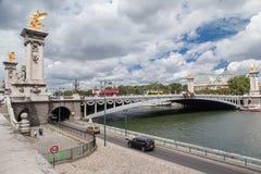 Puente París Francia de Alexander III Fotografía de archivo libre de regalías