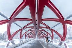 Puente peatonal, Calgary, Alberta fotografía de archivo