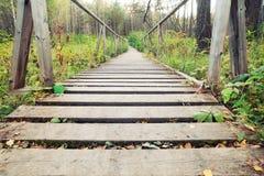 Puente peatonal de la cuerda estrecha fotos de archivo