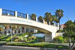 Puente peatonal del Huntington Beach Foto de archivo