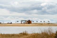 Puente playa de las gaviotas Foto de Stock Royalty Free