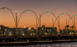 Puente pontón de Emma por puesta del sol anaranjada Imágenes de archivo libres de regalías