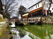 Puente pontón, Hachiman-Bori, OMI-Hachiman, Japón Fotos de archivo libres de regalías