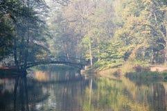 Puente por mañana brumosa fotos de archivo