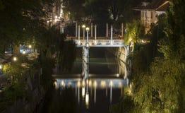Puente por noche, Ljubljana, Eslovenia del ` de los zapateros Imagen de archivo libre de regalías