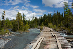 Puente. Puente destruido. Fotos de archivo