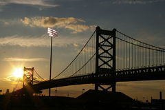 Puente, puesta del sol Fotos de archivo