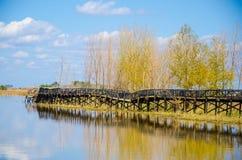 Puente quebrado en lado del lago Imagen de archivo