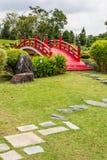 Puente rojo en un jardín japonés Fotografía de archivo libre de regalías