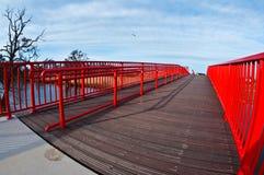 Puente rojo moderno y árbol estéril imagen de archivo