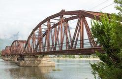 Puente rojo para el tren en Da Nang Foto de archivo libre de regalías
