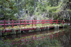 Puente rojo a través del pantano Imagenes de archivo