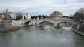Puente Roma Italia de Vittorio Emanuele II almacen de video