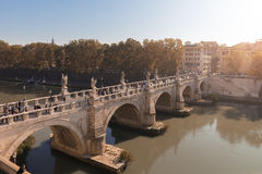 Puente Roma Ponte Sant'Angelo del ángel Imágenes de archivo libres de regalías