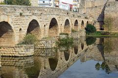 Puente Romana, Roman Bridge, Merida Spain. The Puente Romano Spanish for Roman Bridge is a Roman bridge over the Guadiana River at Mérida, Spain. It is the stock photo