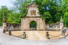 PUENTE SAN MIGUEL, CANTABRIA, SPAIN - JUNE 22, 2018. Stone door stock image