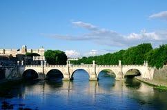 Puente Sant'Angelo en Roma Foto de archivo libre de regalías