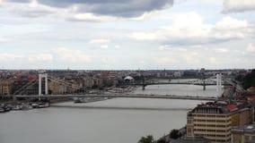Puente sobre Danubio con tráfico en un día nublado almacen de metraje de vídeo