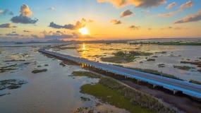 Puente sobre el pantano Foto de archivo