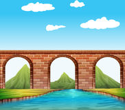 Puente sobre el río stock de ilustración