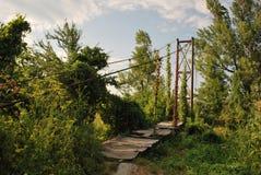 Puente suspendido viejo Fotografía de archivo libre de regalías