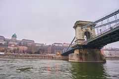 Puente Szechenji en Budapest Imagenes de archivo