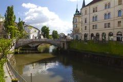 Puente triple Ljubljana por día Imagen de archivo