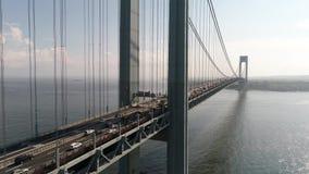 Puente video Nueva York de Verrazano del abejón aéreo almacen de metraje de vídeo