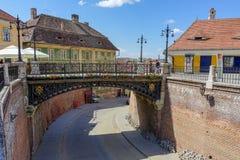 Puente viejo de acero en Sibiu Imagen de archivo libre de regalías