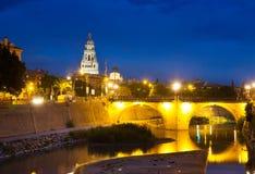 Puente Viejo de los Peligros in night. Murcia. Spain Stock Photos