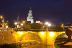 Puente Viejo i natt murcia Royaltyfri Foto