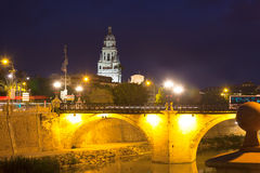 Puente Viejo in night. Murcia royalty free stock photo