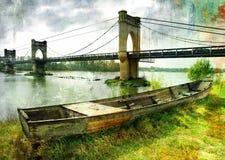 Puente y barco Fotografía de archivo