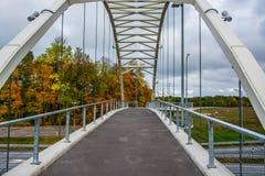 Puente y bosque del otoño Foto de archivo