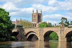 Puente y catedral, Hereford de la horqueta Foto de archivo